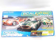 A Scalextric Digital Super GT Set, including an Aston Martin DBR9, Porsche 911GT3R, and a Dodge