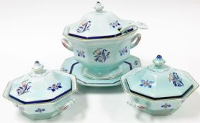 An Adams Calyx ware part dinner service, on a blue ground decorated with red and blue flowers,