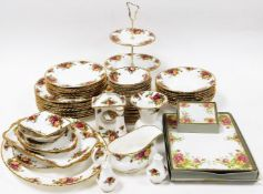 A Royal Albert Old Country Roses pattern part dinner service, comprising twelve cake plates, cake