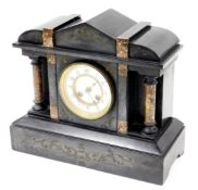 A late 19thC French black marble mantel clock, decorated with engraved scroll to top, above two