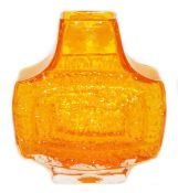A 1960s Whitefriars tangerine TV vase, by Geoffrey Baxter, of shouldered form on a shaped