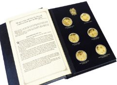 A Sir Winston Churchill Centenary Medals Trustee Edition silver gilt medallion set, comprising