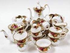 A Royal Albert Old Country Roses part tea and coffee service, comprising six coffee cups and