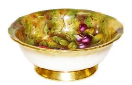 A 20thC Royal Worcester fruit patterned bowl, decorated by Edward Townsend, of shaped circular form,