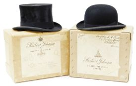 A 20thC top hat, with Lincoln Bennett & Co Burlington Gardens stamp, further label, size 7 1/4, in