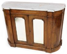 An early 19thC burr walnut and marquetry marble top side cabinet, the grey marble top above
