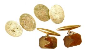 Two pairs of cufflinks, to include a pair of 9ct gold octagonal engine turned cufflinks, with