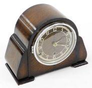 A Bentima mahogany cased mantel clock, in 1920's mahogany case, 23cm high.