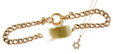 Two items of gold jewellery, comprising a 9ct gold identity bracelet, on curb link rose gold
