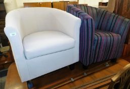 Two upholstered tub chairs, one in cream the other in a grey pink/purple striped fabric, each on