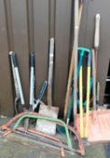 Various garden and other tools, to include shears, spades, saws, shovels, etc. (a quantity)