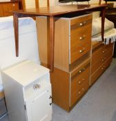 A group of furniture to include a French style bed surround, a chest of three drawers, with matching