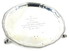 A George VI Mappin and Webb silver card tray or waiter, with a gadrooned and moulded, engraved