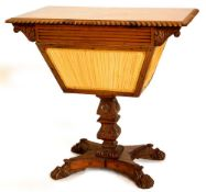 An early 19thC Anglo Indian work table, the rectangular top with a gadrooned border above a reeded