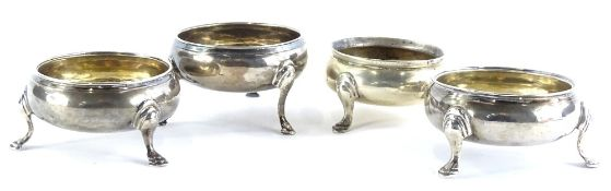 Four 19thC silver salts, each of circular form on cabriole legs with moulded feet, various dates,
