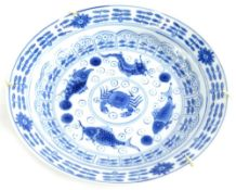 A late 19th/early 20thC Chinese blue and white saucer dish, decorated with fish, crabs, etc., in