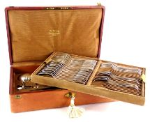 A late 19th/ early 20thC French silver part canteen of cutlery, to include twelve table forks,
