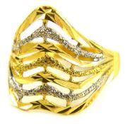 A modern dress ring, the bi-colour weaved design dress ring of shaped design, stamped 916, ring size