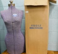 A dress makers mannequin, with plated mounts, boxed.