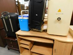 A Stag style low cabinet, modern computer desk, Samsonite suitcase, cool box, etc. (a quantity).