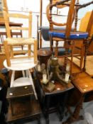 A collection of furniture, to include an oak drop leaf table, a yew veneered drop leaf table, two