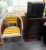 A collection of furniture, to include three chrome plated and oak stacking chairs, a mahogany Hi-