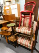 A collection of furniture, to include two late Victorian side chairs, a dolls high chair, two rustic