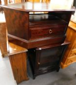 A Stag corner TV stand, Stag style glazed front cabinet, and an oak corner bookcase.