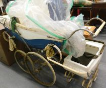 A Swan coach built pram with spoked wheels, painted in blue and white, and a Tri-ang childs pram, (