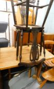 An elm pub type table, a pair of bedroom chairs, and two mirrors.