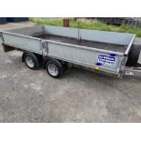 IFOR WILLIAMS TWIN AXLE 12' DROPSIDE TRAILER,LM126G,C/W RAMPS