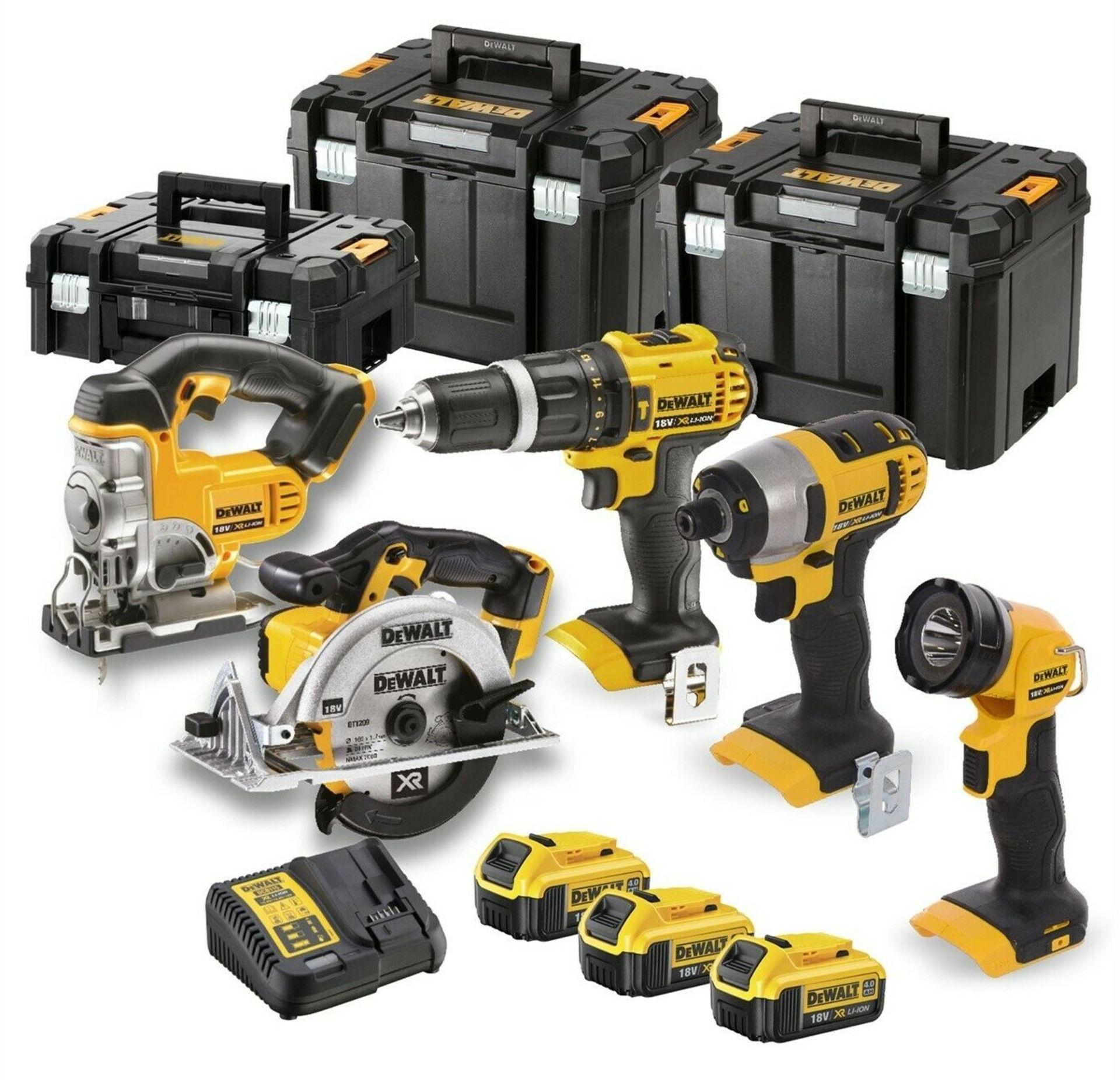 Lot 17011 - V Brand New DeWalt 18v 5 Piece Set Inc 3x 5.0Ah Batteries - Kit Includes Impact Driver + Combi Drill