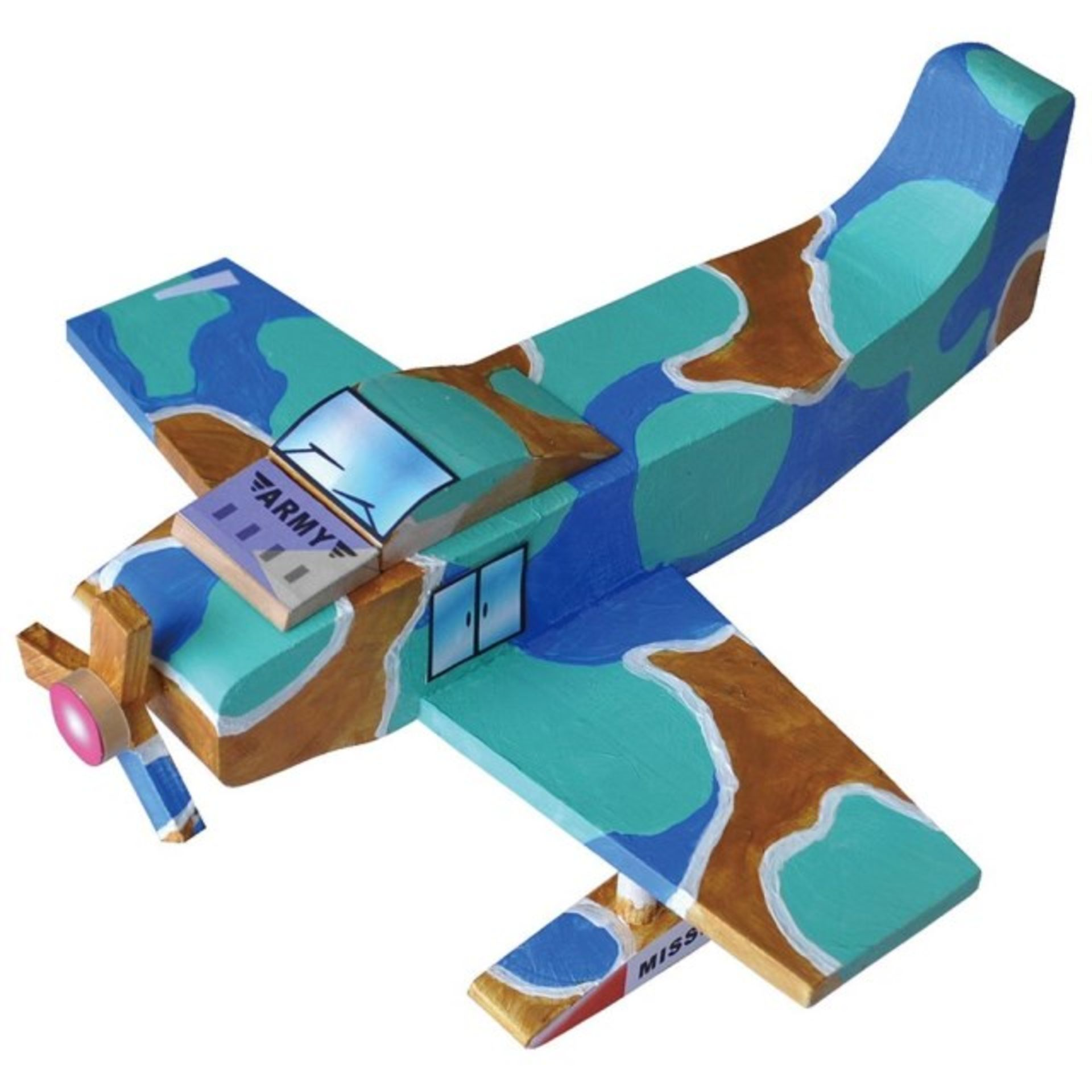 Lot 10330 - V Brand New Make Your Own Wooden Plane Set inc Acrylic Paint - Brush - Glue - Stickers RRP £29.99