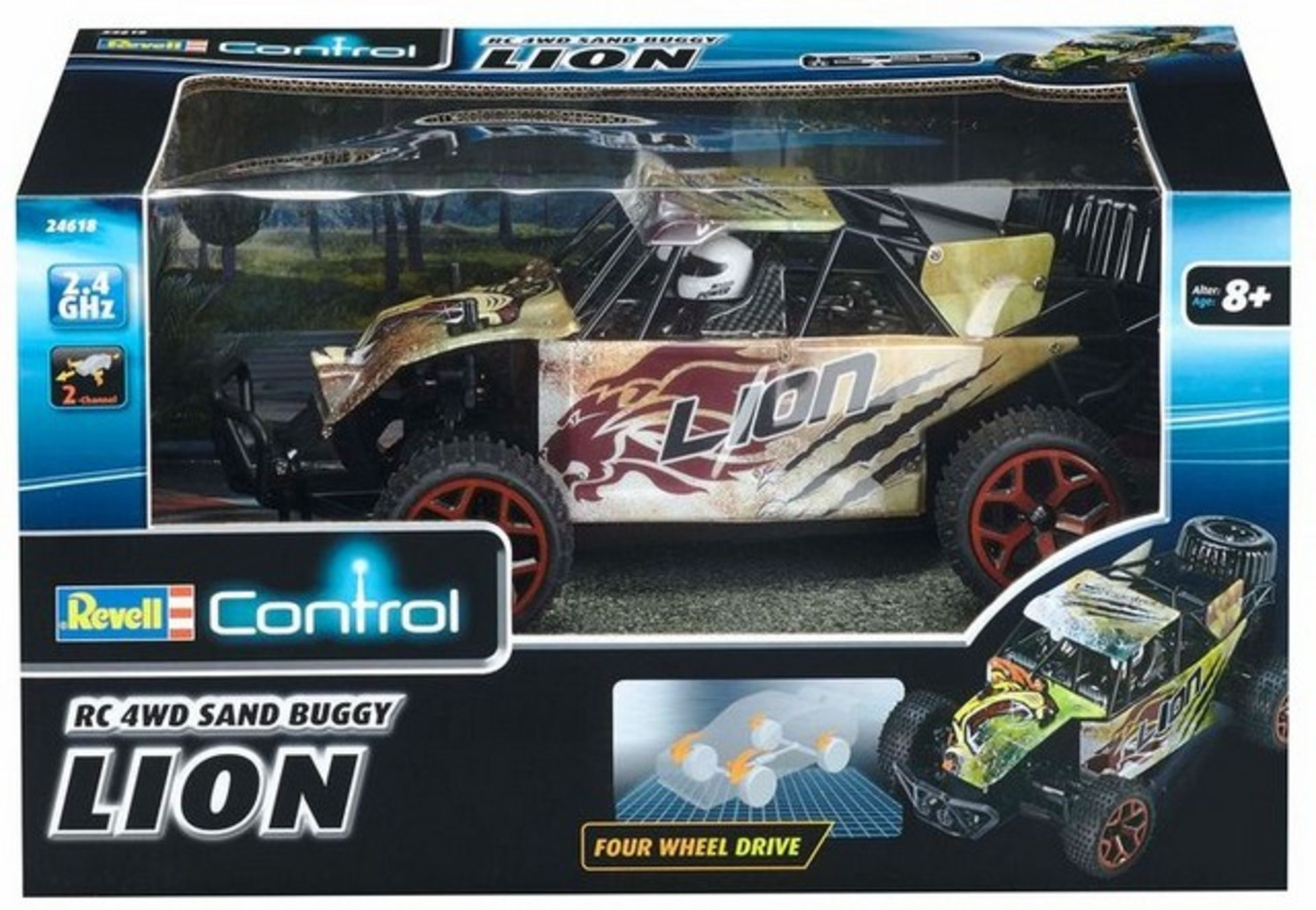 Lot 12411 - V Brand New Revell R/C 4 Wheel Drive Sand Buggy Lion Up To 15 kph 2.4GHz 2 Channel Remote Control