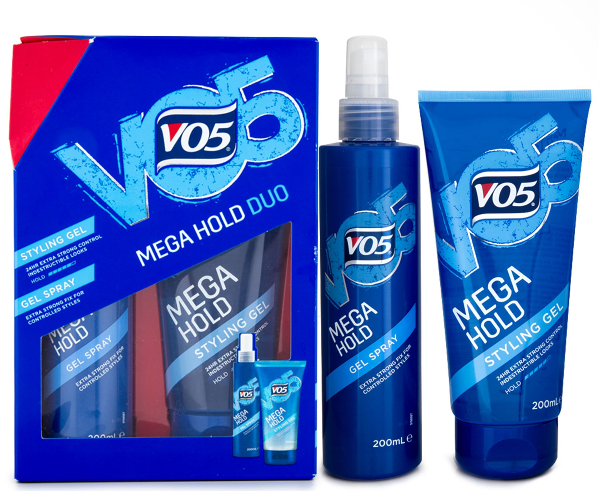 Lot 10036 - V Brand New Vo5 Mega Hold Duo Gift Set Inc 24HR Extra Strong Control Styling Gel & Extra Strong