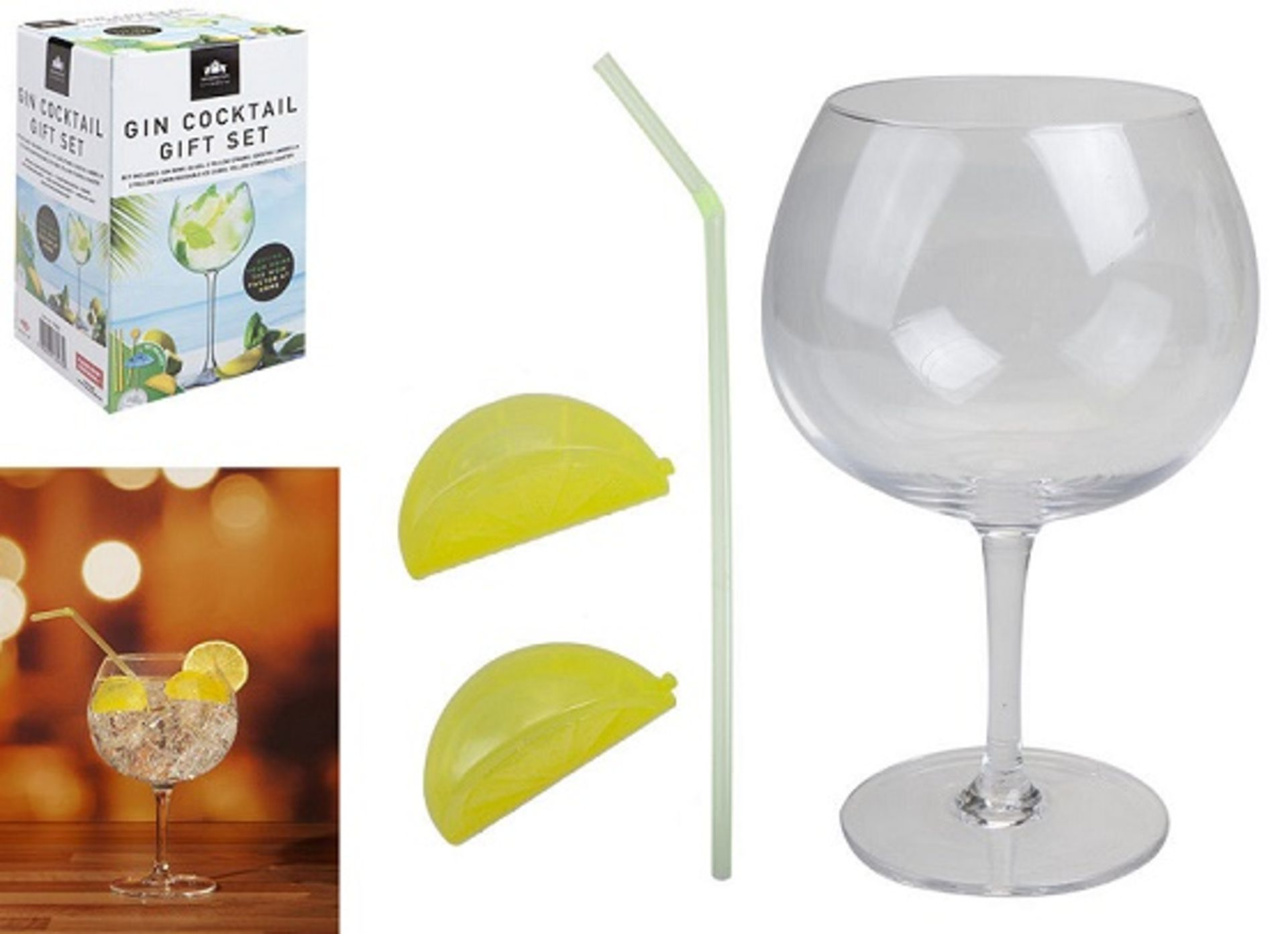 Lot 10705 - V Brand New Kensington Gin Cocktail Gift Set Includes Gin Bowl Glass-Straw-Two Lemon Reusable Ice