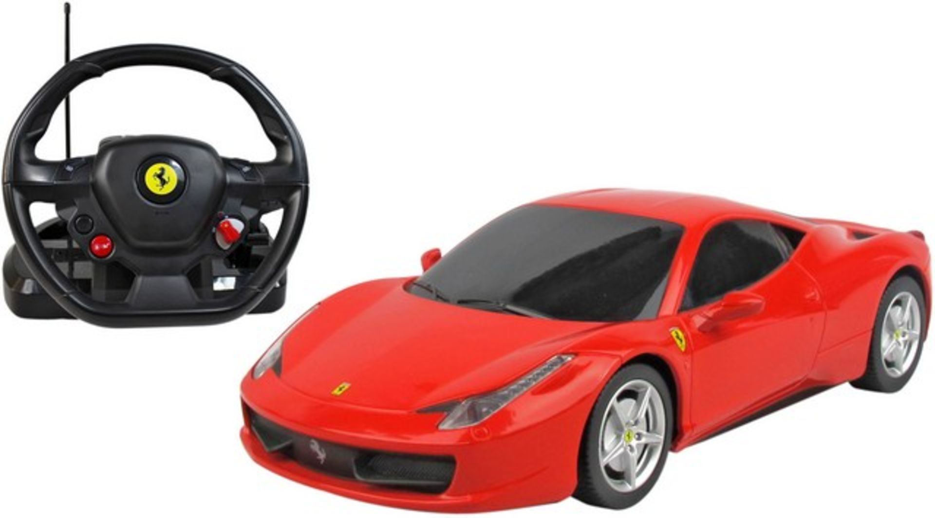 Lot 12055 - V Brand New 1/18 RC Ferrari 458 Italia With Sound and Steering Wheel Controller - Official