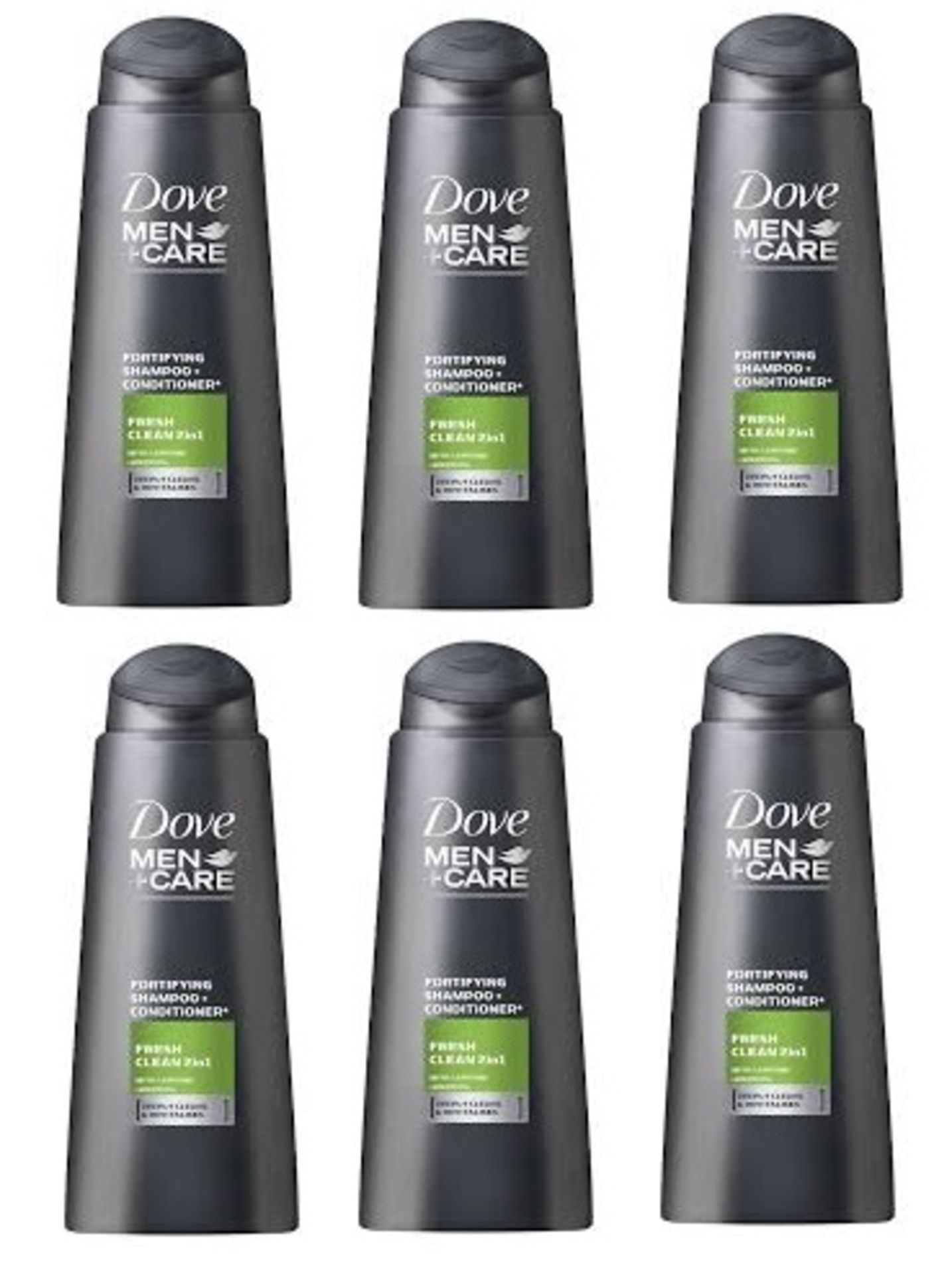Lot 10219 - V Brand New Six Bottles 400ML Dove Men + Care Fortifying Shampoo And Conditioner - Fresh Clean 2