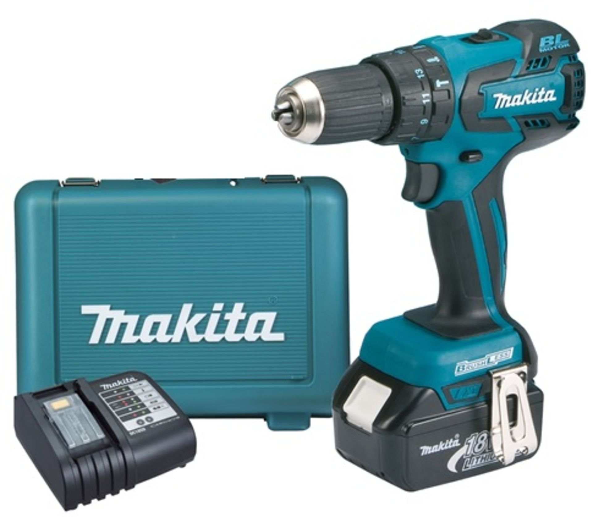Lot 11558 - V Brand New Makita 18v Brushless Combi Drill (All Metal Gearing) + 4Ah Battery + Charger + Makita