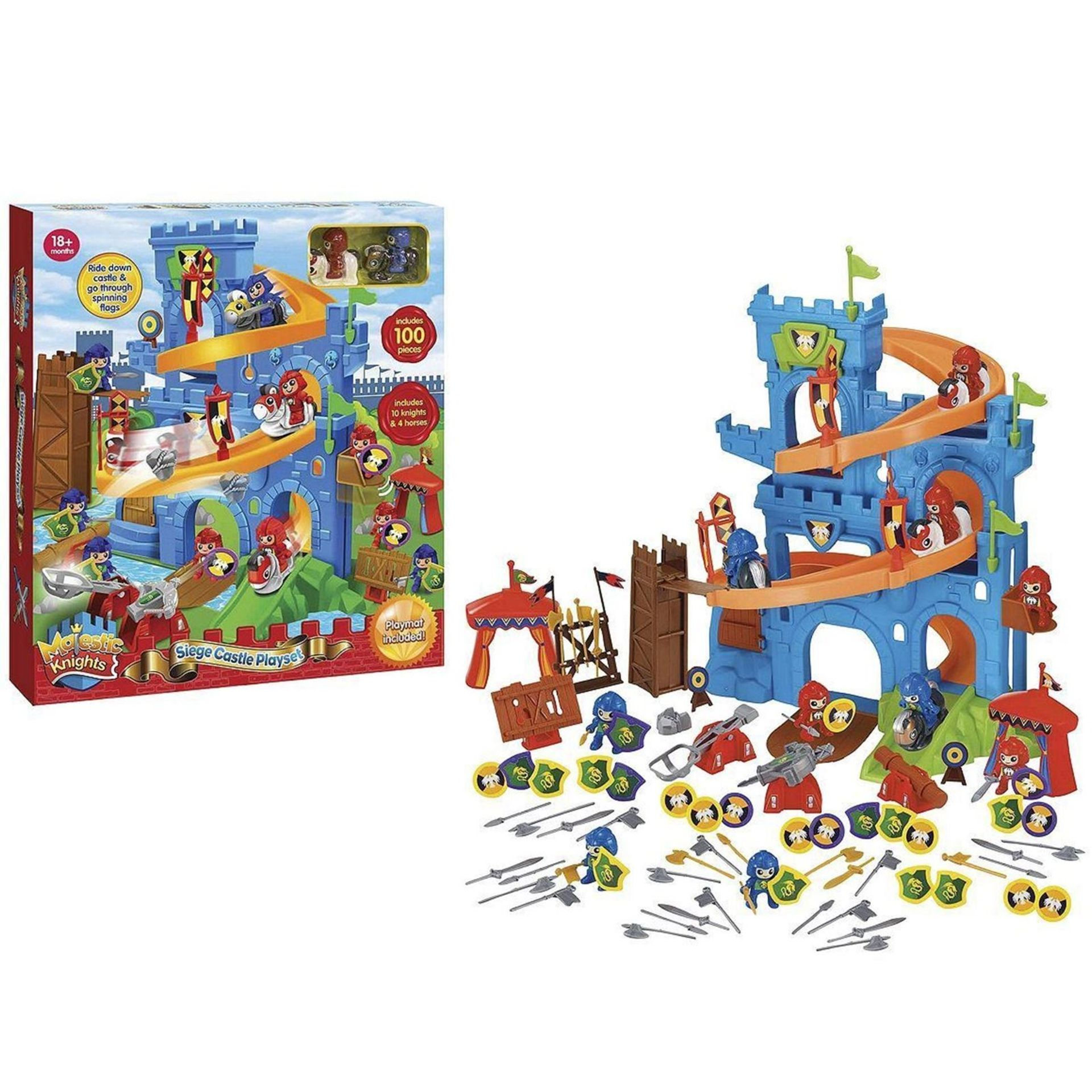Lot 12578 - V Brand New Majestic Knights 100 Piece Siege Castle Playset - Includes 10 Knights And Four Horses
