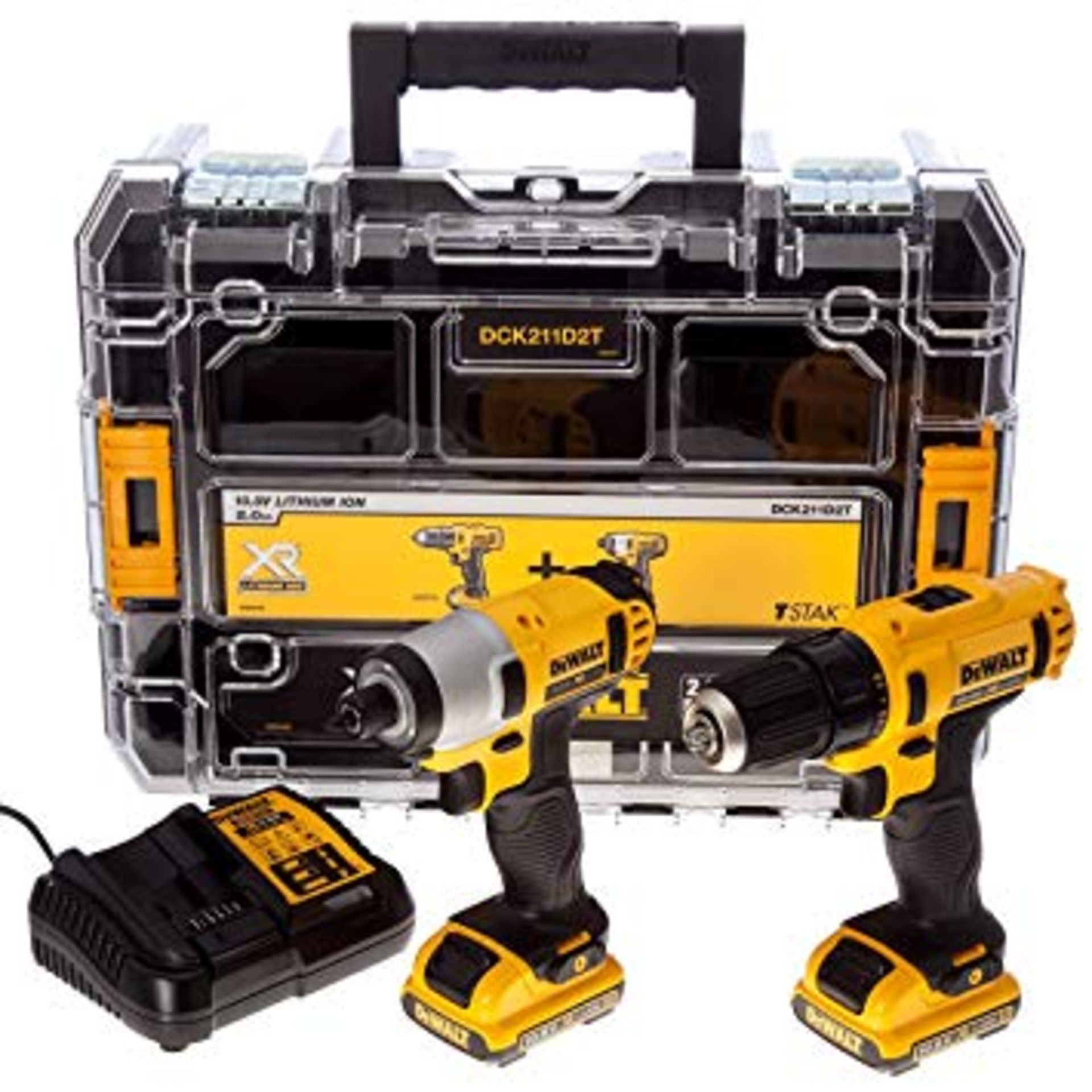 Lot 11556 - V Brand New DeWalt 10.8v Twin Drill & Impact Driver Kit + Two Batteries + Charger