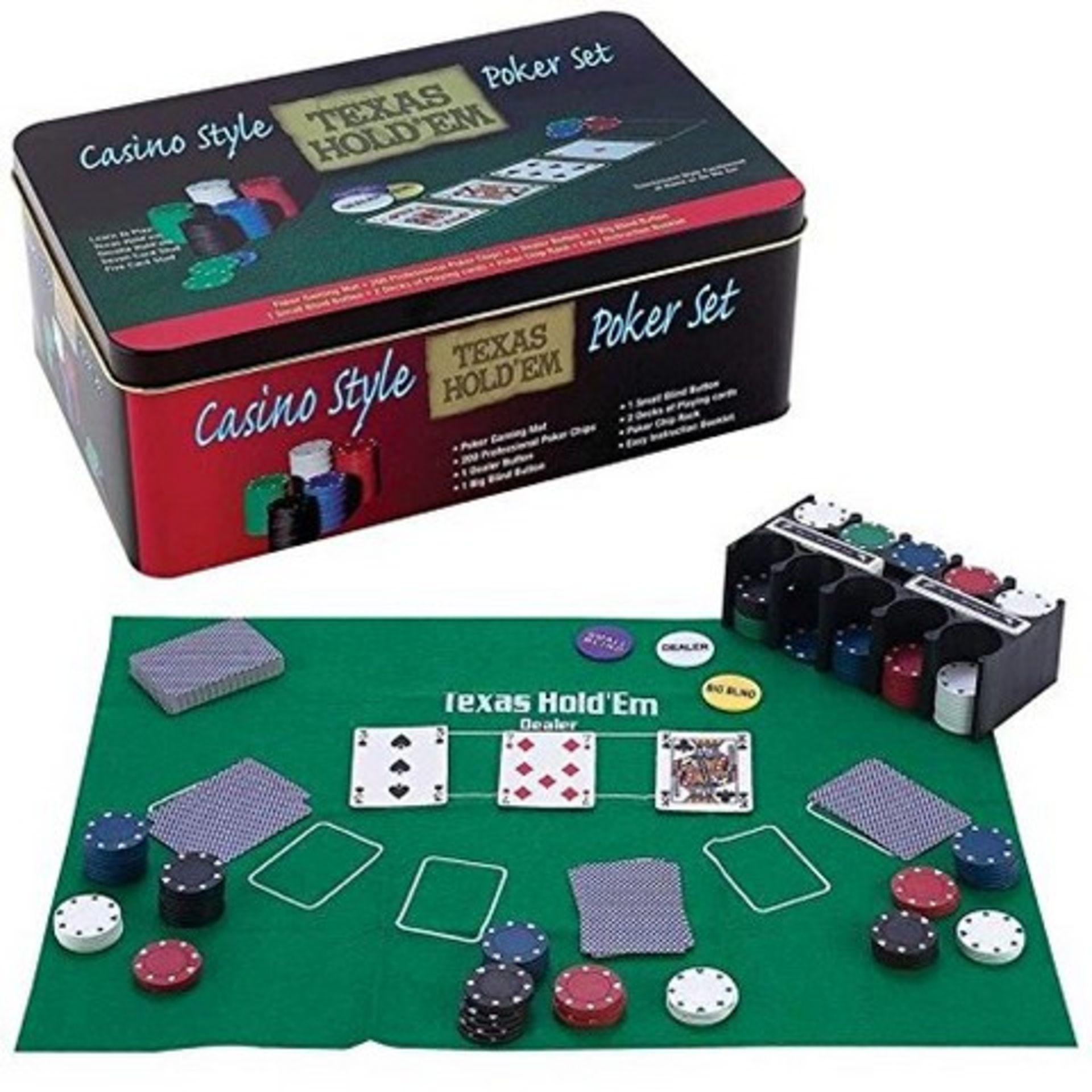 Lot 12590 - V Brand New Texas Holdem Casino Style Poker Set Including - Poker Gaming Mat - 200 Professional
