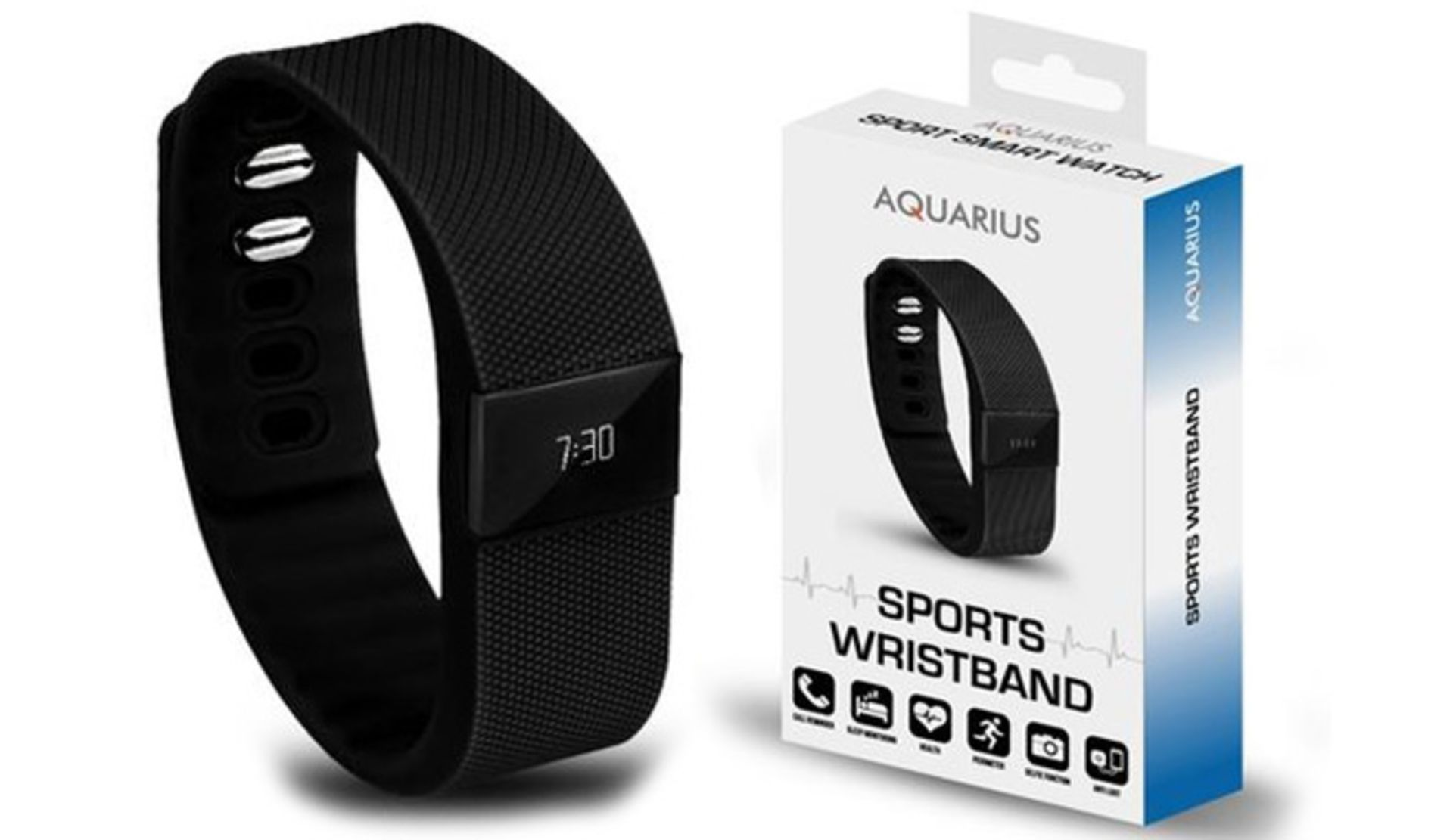 Lot 10252 - V Brand New Aquarius Sports Wristband - Call Reminder - Sleep Monitoring - Health-Pedometer - Selfie
