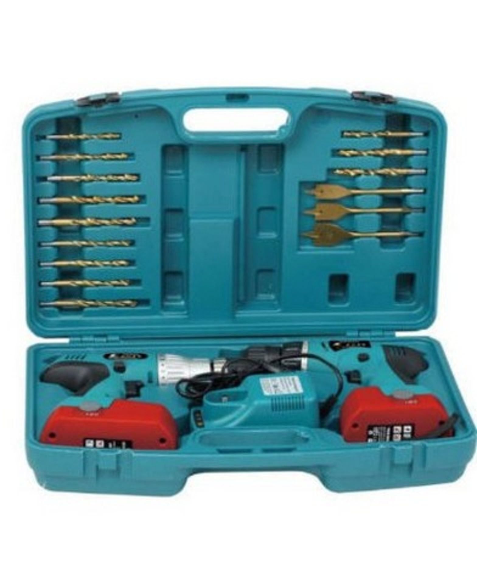 Lot 10052 - V Brand New 18V Twin Drill Kit with Hammer Action and Torque Adjustment - with 15 Asssorted Drill