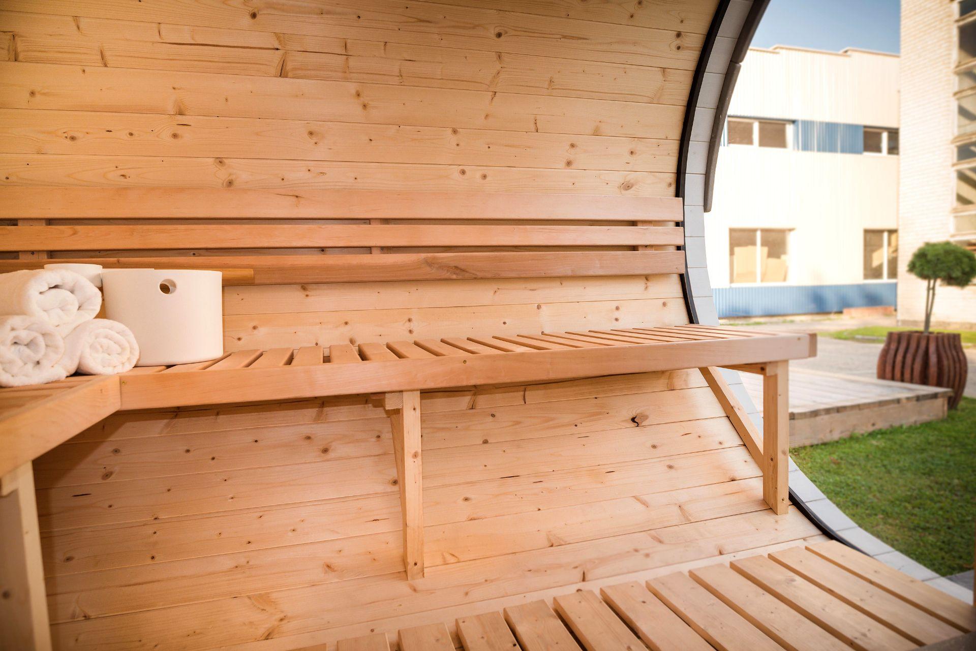 Lot 18018 - V Brand New Superb Extra Large Sauna Extended Barrel 2.4m x 4.3m - Separate Sitting/Changing
