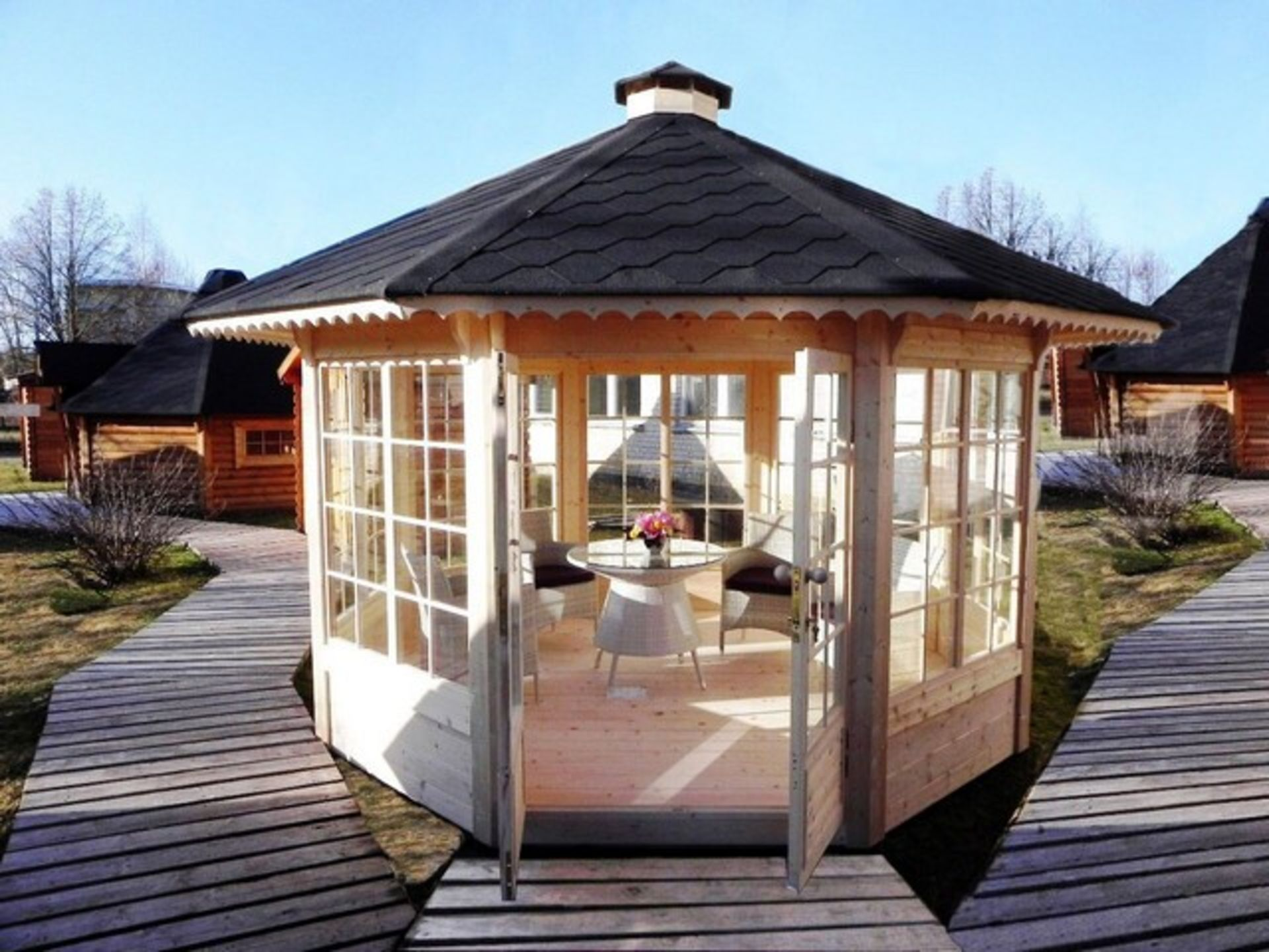 Lot 18041 - V Brand New 10m sq 8 Corner Pavillion - 7 Double Glass Windows (3 Opening) - Double Doors With