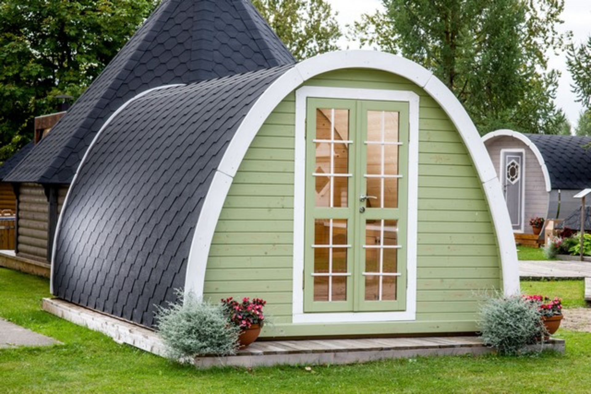 Lot 18050 - V Brand New Insulated 13.4m sq Spruce Camping Pod - Insulated Walls Floors and Panels - Two