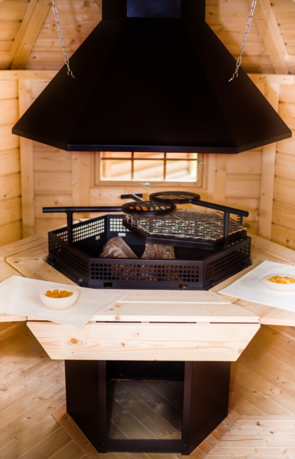 Lot 18009 - V Brand New 4.5m sq Grill Cabin - Inside Grill With Cooking Platforms & Table - Bitumen Roof