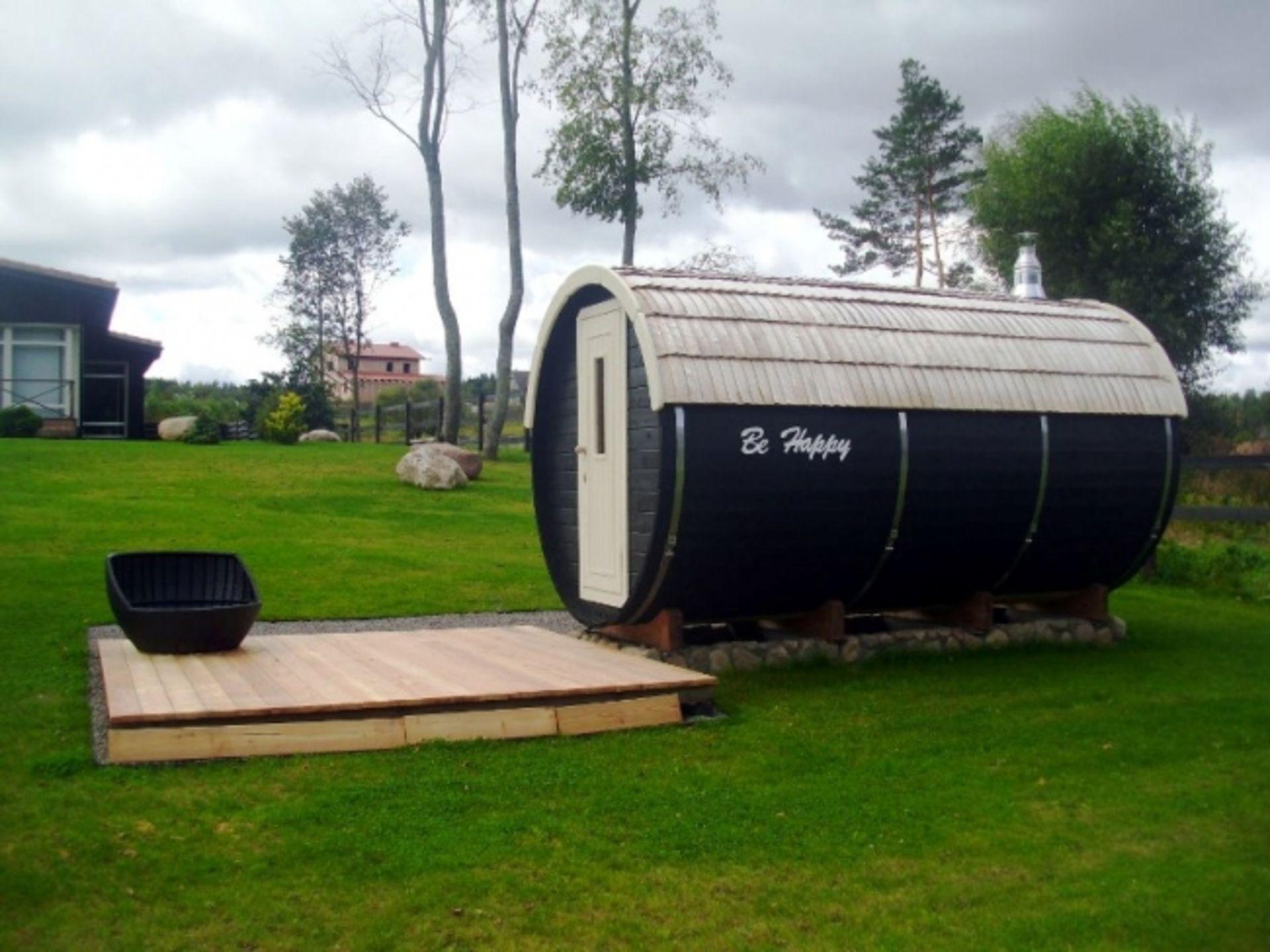 Lot 18057 - V Brand New 4m Spruce Barrel With 2.2m Sauna (Internal) - 0.6m Terrace - Changing Room & Sauna