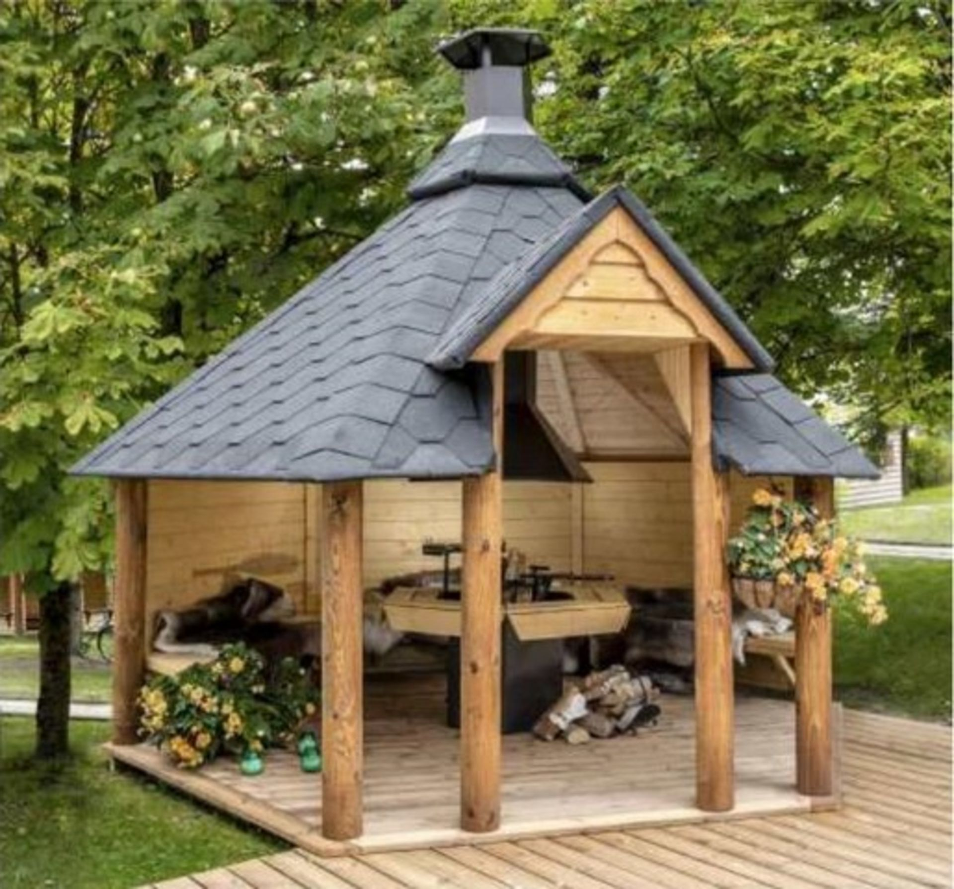Lot 18038 - V Brand New 9.2m sq 6 Corner Spruce Open Grill Cabin - Inside Grill with Cooking Platforms and Table
